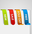 Set of colored paper web tags vector