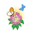 Flower with butterflies vector
