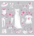 Stylish hand drawn set of women fashion items vector