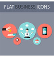 Set of five flat circle business icons vector