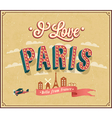 Vintage greeting card from paris - france vector