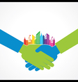 Colorful cityscape on business handshake stock vec vector