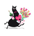 Cat with flowers vector