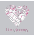 Heart from stylish hand drawn fashion items vector