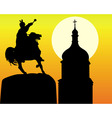 Khmelnytsky monument and tower of the church in ki vector