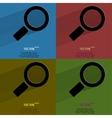 Color set search magnifier flat modern web button vector