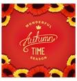 Autumn sunflowers card vector