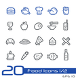 Food and drink icons outline series vector