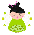 Green floral geisha isolated on dotted background vector