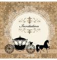 Vintage carriage invitation card vector