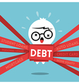 Debt concept cartoon a man wrapped up in red tape vector