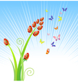 Easter eggs-flowers with butterfly holiday ornam vector