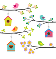 Birds and birdhouses vector