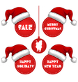 Christmas new year and holidays sale tag with cap vector