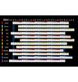 Linear calendar 2014 vector