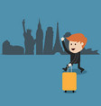 Business man travel around the world vector