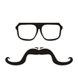 Men face with long mustache and hipster glasses vector