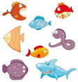 Cartoon fishes doodle icon set vector