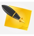 Yellow paper with ink pen icon vector