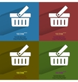 Color set shopping basket flat modern web button vector