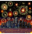 Firework city at night vector