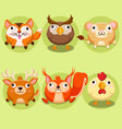 Cute animals icon set vector