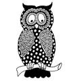 Original artwork of owl ink hand drawing in ethnic vector