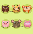 Set of cute animals icon vector