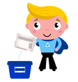 Cute recycle superhero boy separating garbage vector