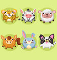 Set wildlife animals cute vector