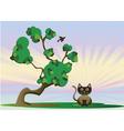 Kitten under the tree vector