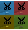 Color set scissors flat modern web button with vector