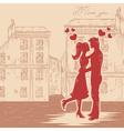 Romantic valentine retro postcard vector