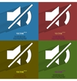 Color set mute sound flat modern web button with vector