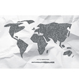 Hand drawn world map on crumpled paper background vector