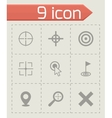 Black target icon set vector