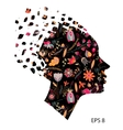Beautiful fashion women with floral abstract vector