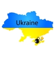 Map of ukraine in national flag colors with bomb vector