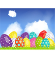 3d easter eggs selection on a blue sky and clouds vector
