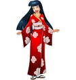 Asian woman in red kimono vector