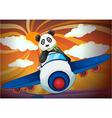 Panda flying in air plane vector