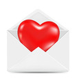 White envelope with red heart vector
