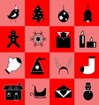Christmas black icons on red background vector