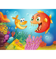 Two fishes with big fangs under the sea vector