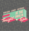 1950s drive-in style logo design vector