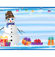 Blue eyed snowman and gift boxes vector