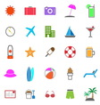 Summer color icons on white background vector