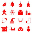 Christmas red icons on white background vector