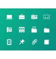 Office icons on green background vector