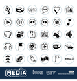 Media and arrows web icons set vector